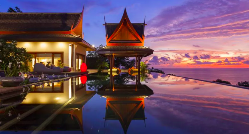 Swimming pool at sunset- Villa for sale Phuket
