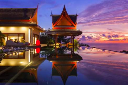 Swimming pool at sunset- Villa for sale Phuket